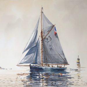 Guy L'Hostis, Marie-Fernand, temps blanc, aquarelle, 55x38cm