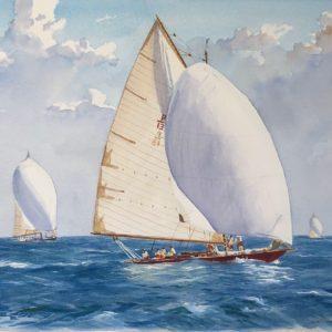 Guy L'Hostis, Chips, régate Cannes St-Tropez, aquarelle, 55x38cm