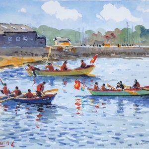 Guy L'Hostis, Les doris, aquarelle, 27x22cm
