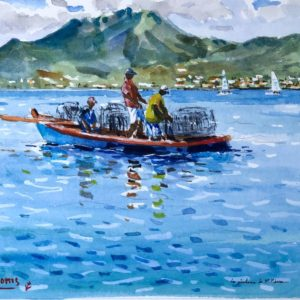 Guy L'Hostis, Les pêcheurs de St-Pierre (Martinique), aquarelle, 27x22cm