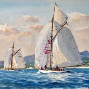 Guy L'Hostis, Violaet Kismet travers Fréjus, aquarelle, 41x27cm