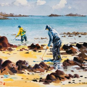 Guy L'Hostis, Pêche dans les Rohous (baie de Paimpol), aquarelle, 27x22cm