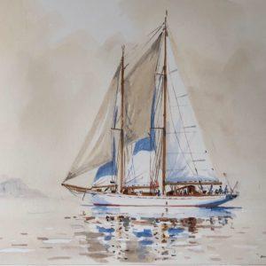 Guy L'Hostis, Orianda, temps blanc, aquarelle, 35x24cm