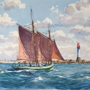 Guy L'Hostis, Aux approches de St-Malo, aquarelle, 46x33cm