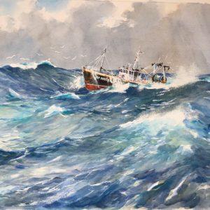 Guy L'Hostis, Gros temps, aquarelle, 81x60cm
