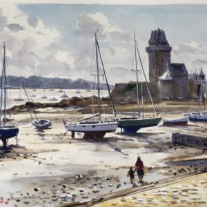 Guy L'Hostis, En septembre à St-Servan, aquarelle, 41x33cm