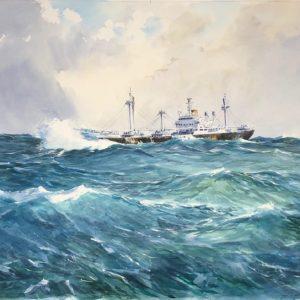 Guy L'Hostis, Taboa, mer forte, aquarelle, 81x60cm