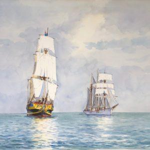 Guy L'Hostis, Légère brise d'Est en baie de St-Brieuc, aquarelle, 81x60cm