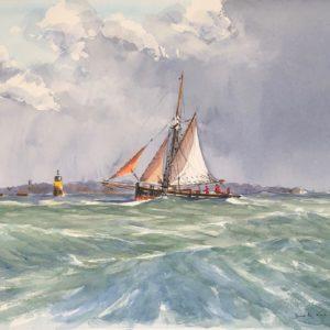 Guy L'Hostis, Dans le nord de Bréhat, aquarelle, 46x33cm