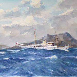 Guy L'Hostis, Nahlin, mer forte travers Terre de Bas, aquarelle, 65x46cm