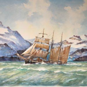 Guy L'Hostis, Morutier dans le grand Nord, aquarelle, 120x80cm