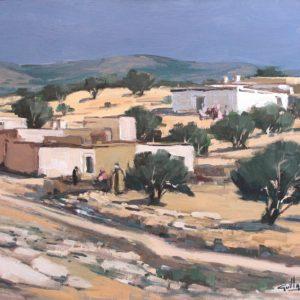 Guillain,  Paysage aux arganiers, huile sur toile, 12F