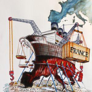 Nicolas VIAL, l'Europe, aquarelle et gouache sur papier