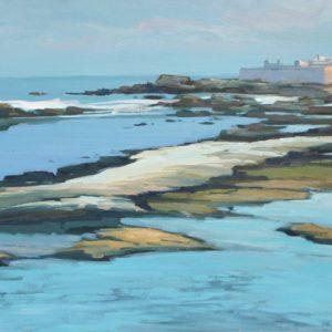 Guillain, La côte à Essaouira,  huile sur toile, 25P