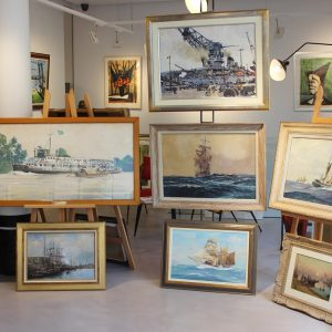Exposition Peintres Officiel de la Marine, Marin Marie, Albert Brenet, Albert Sebille, Lucien Victor Delpy, Henri Barnoin, Roger Chapelet