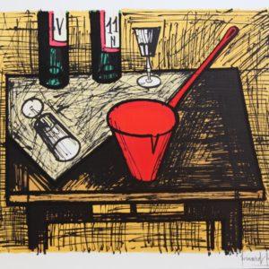 Bernard BUFFET-Nature morte à la casserole rouge, 1982, lithographie n°9/150, 58x76cm