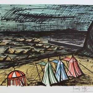 B. BUFFET, 430-Tentes sur la plage, lithographie 100-150, 1983, 58x76cm