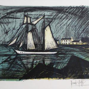 B.BUFFET, 361-La Goelette, 1981, lithographie 103-150 , 58x76cm - Copie