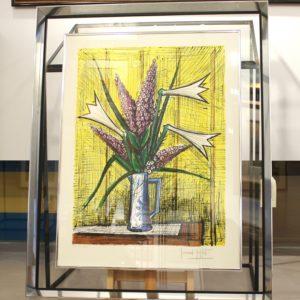 Bernard BUFFET, Arums fond jaune, 1995, lithographie encadrée XXVII-XXX