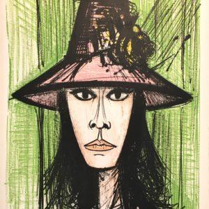 Bernard BUFFET, Femme au chapeau rose, 1960, Lithographie EA