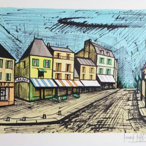 Bernard BUFFET-Le village de Marines,1985, lithographie 109-150, 58x76cm