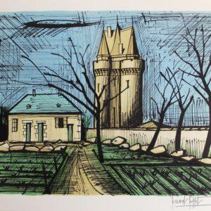 Bernard BUFFET, Saint-Servan, la tour Solidor, 1985, lithographie n° 110/150, 58x76cm