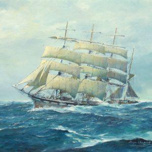 Roger Chapelet, le Valparaiso, huile sur toile, 51x73cm,