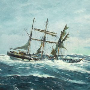 Roger Chapelet, le voilier Hebe dans la tempête, huile sur toile, 50x65cm