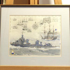 Albert Sébille, Planche au pochoir n°635, Mémorial de la Marine,36x40cm