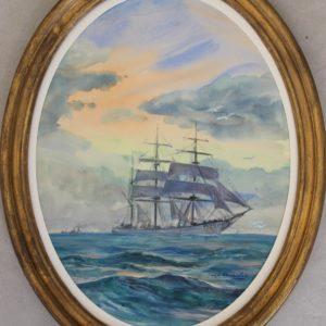 Roger Chapelet, Portrait de navire, gouache, 33x24cm