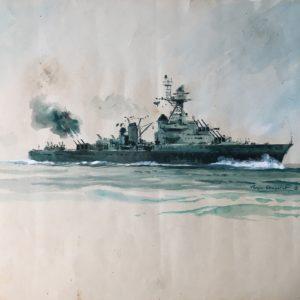 Roger Chapelet, Etude du croiseur Montcalm, gouache sur papier, 31x42cm