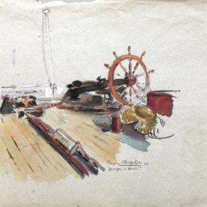 Roger Chapelet, Etude Georges & Henri, gouache sur papier, 31x48cm