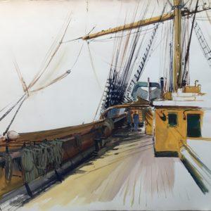 Roger Chapelet, sur le pont, gouache sur papier, 50x65cm