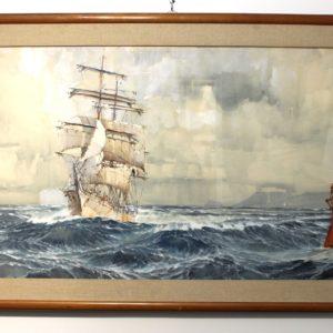 Marin-Marie, Trois-Mâts barque, aquarelle gouachée, 140x65cm