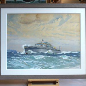 Marin-Marie, Vedette au large du Cap Fréhel, aquarelle gouachée, 56x74cm