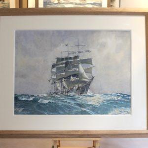 Marin-Marie, Trois-mâts, aquarelle gouachée, 53x73cm