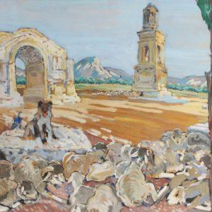 Mathurin Méheut, Le gardien du troupeau à St-Rémy de Provence (1953), gouache sur papier, 57x77cm, disponible