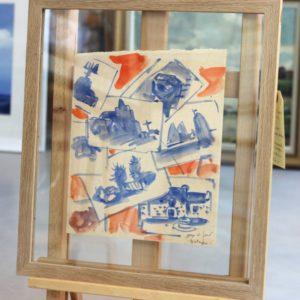 Mathurin MEHEUT, croquis de paysages bretons, lavis d'aquarelle bleu et rouge,  24x20cm