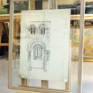 Mathurin MEHEUT, crayon gras, Mont-Saint-Michel, le porche32x22cm, disponible