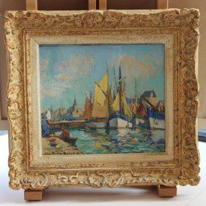 Lucien-Victor Delpy, Voiles jaunes à Concarneau, huile sur papier marouflé sur isorel,23x27cm