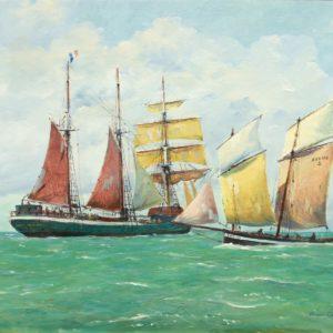Roger Chapelet, L'Emeraude et son bateau pilote, huile sur toile, 50x67 cm