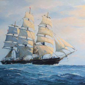 Roger Chapelet, peintre officiel de la Marine, Three Brothers, huile sur toile, 65x92 cm