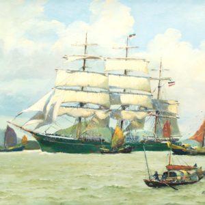 Roger Chapelet, Rickmer Rickmers, huile sur toile, 50x65 cm - Vendu