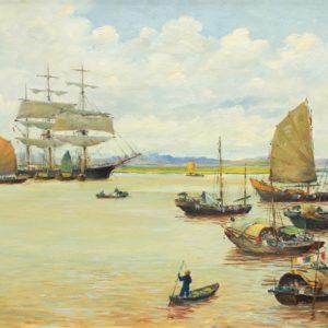 Roger Chapelet, Baie d'Along, Vietnam, huile sur toile, 49x64 cm, - Vendu