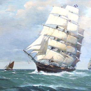 Roger Chapelet, Le Cutty Sark, huile sur toile, 59x84 cm
