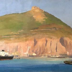 Roger Chapelet, Le port d'Oran, gouache sur panneau, 66x190 cm