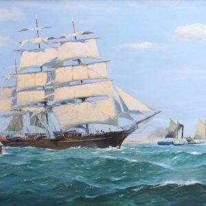 Roger Chapelet, peintre officiel de la Marine, Le Cutty Sark, huile sur toile, 59 x 84 cm