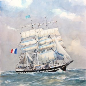 Guy L'Hostis, Belem au large d'Ouessant, aquarelle, 55x38vm