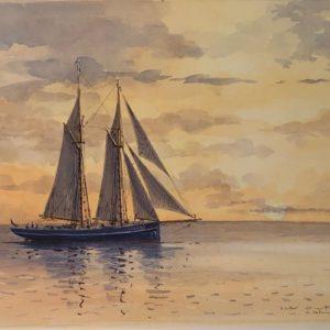 Guy L'Hostis, Le Gallant, côte sous le vent route Deshaies, aquarelle, 55x38cm